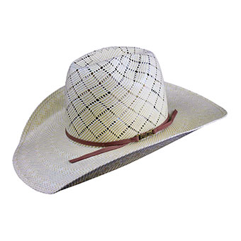 American Hat Co 20★ 5050 Patchwork Crossbred Straw Hat - Tan/Ivory