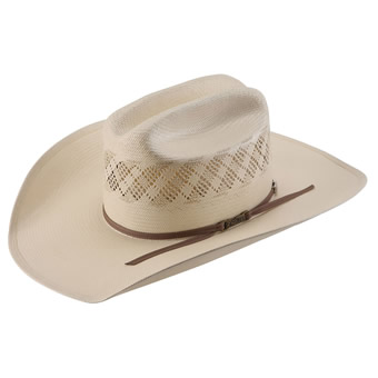 American Hat Co 20★ 6300 Two-Tone Fancy Vented Straw Hat - Ivory/Tan