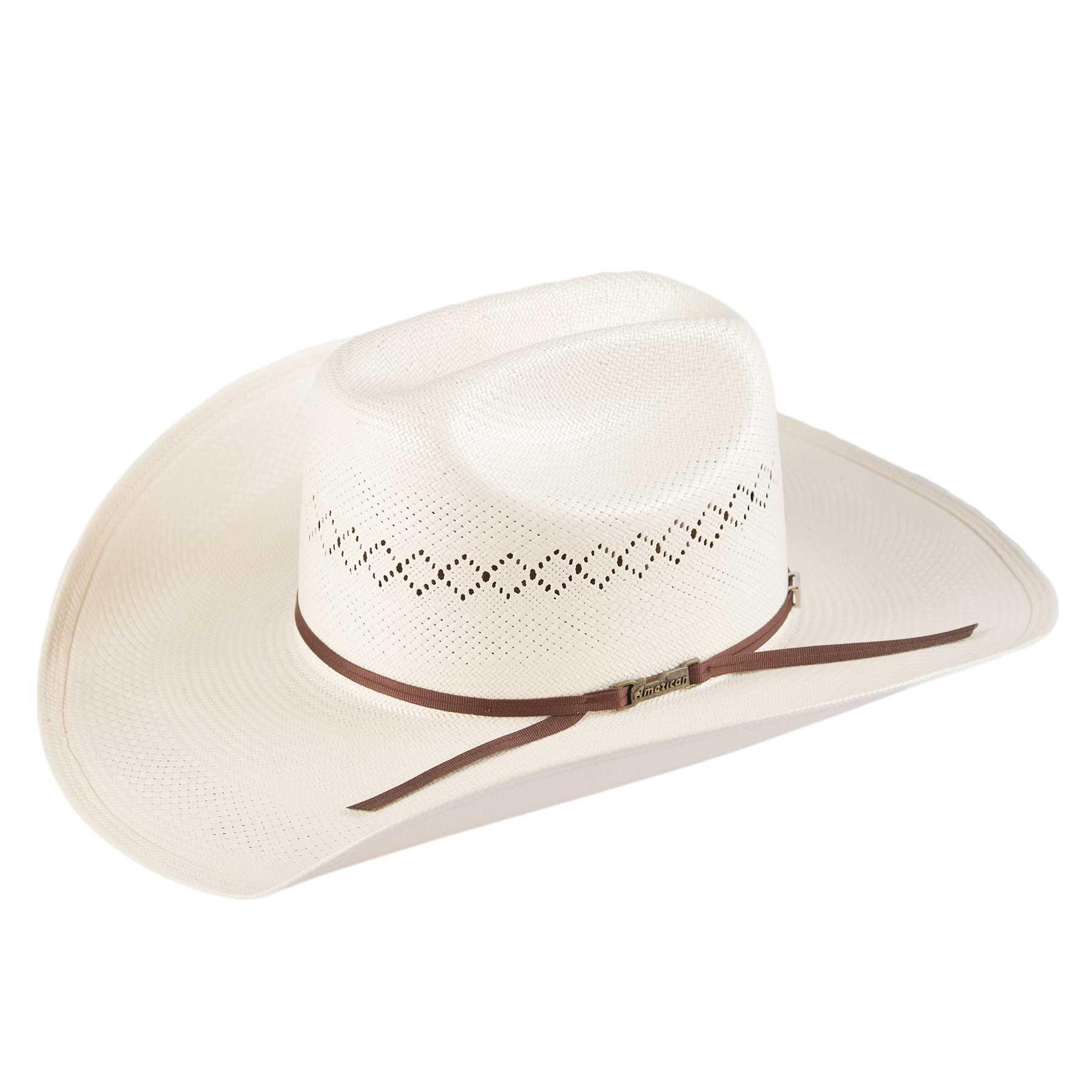 """4/"""" Brim Brick Rancher Rodeo Crown Straw COWBOY Strait HAT Western SHANTUNG"""