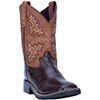 Dan Post Youth's Al E. Gator Cowboy Boots - Chocolate/Tan