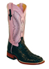 Ferrini Ladies Hornback Caiman Square Toe Western Boots - Black/Pink
