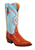 Ferrini Ladies Caiman Belly V Toe Western Boots - Cognac/Baby Blue