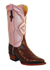 Ferrini Ladies Caiman Belly V Toe Western Boots - Chocolate/Pink