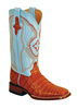 Ferrini Ladies Caiman Belly Square Toe Western Boots - Cognac/Blue