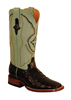 Ferrini Ladies Caiman Belly Square Toe Western Boots - Black/Mint