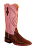 Ferrini Ladies Caiman Belly Square Toe Western Boots - Chocolate/Pink