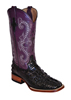 Ferrini Ladies Hornback Caiman Print Western Boots - Black/Purple