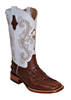 Ferrini Ladies Hornback Caiman Print Western Boots - Chocolate/White