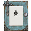 Turquoise Distressed Wood Picture Frame w/Cross