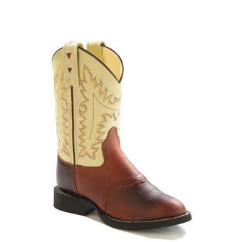 Old West Youth's Comfort Wear Western Boots - Rust/Oyster