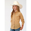 Roper Girls L/S Fancy Plaid Western Shirt - Butterscotch