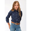 Roper Girls L/S Geometric Print Western Shirt - Blue