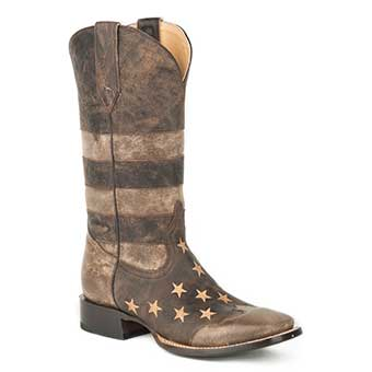 Roper Working Mans Distressed USA Flag Square Toe Boots