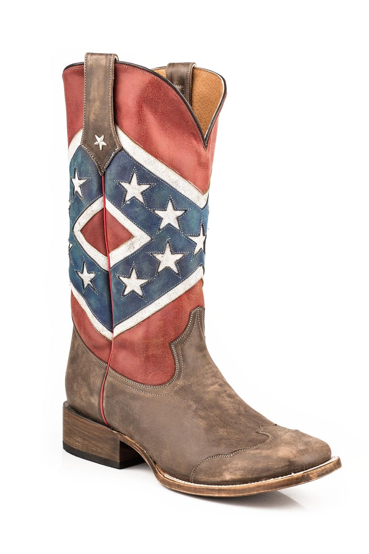 6e9da9d397c Roper Mens Distressed Rebel Flag Square Toe Boots