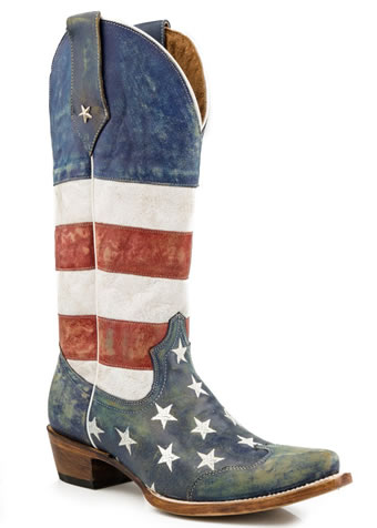 Roper Ladies Distressed American Flag Boots