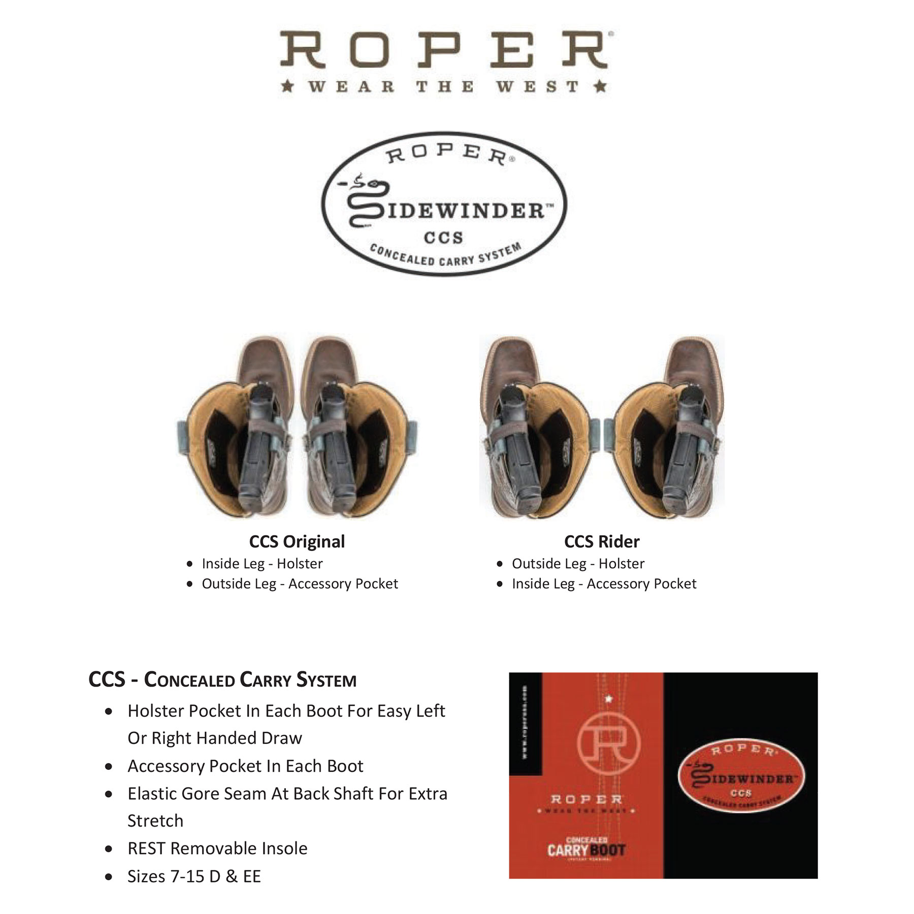 3218791f6a6 Roper Ladies Sense 1 Concealed Carry Boots - Waxy Taupe