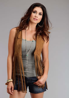 Stetson Women's Faux Suede Fringe Vest - Saddle Brown