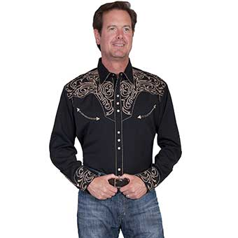 Scully Men's Western Shirt w/Embroidered Scrolls - Black/Tan