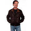 Scully Men's Featherlite Leather Jacket - Chocolate W/Cognac