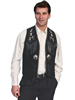 Scully Men's Boar Suede Hand Laced Bead Trim Vest - Black