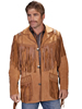 Scully Men's Boar Suede Fringed Jacket - Bourbon