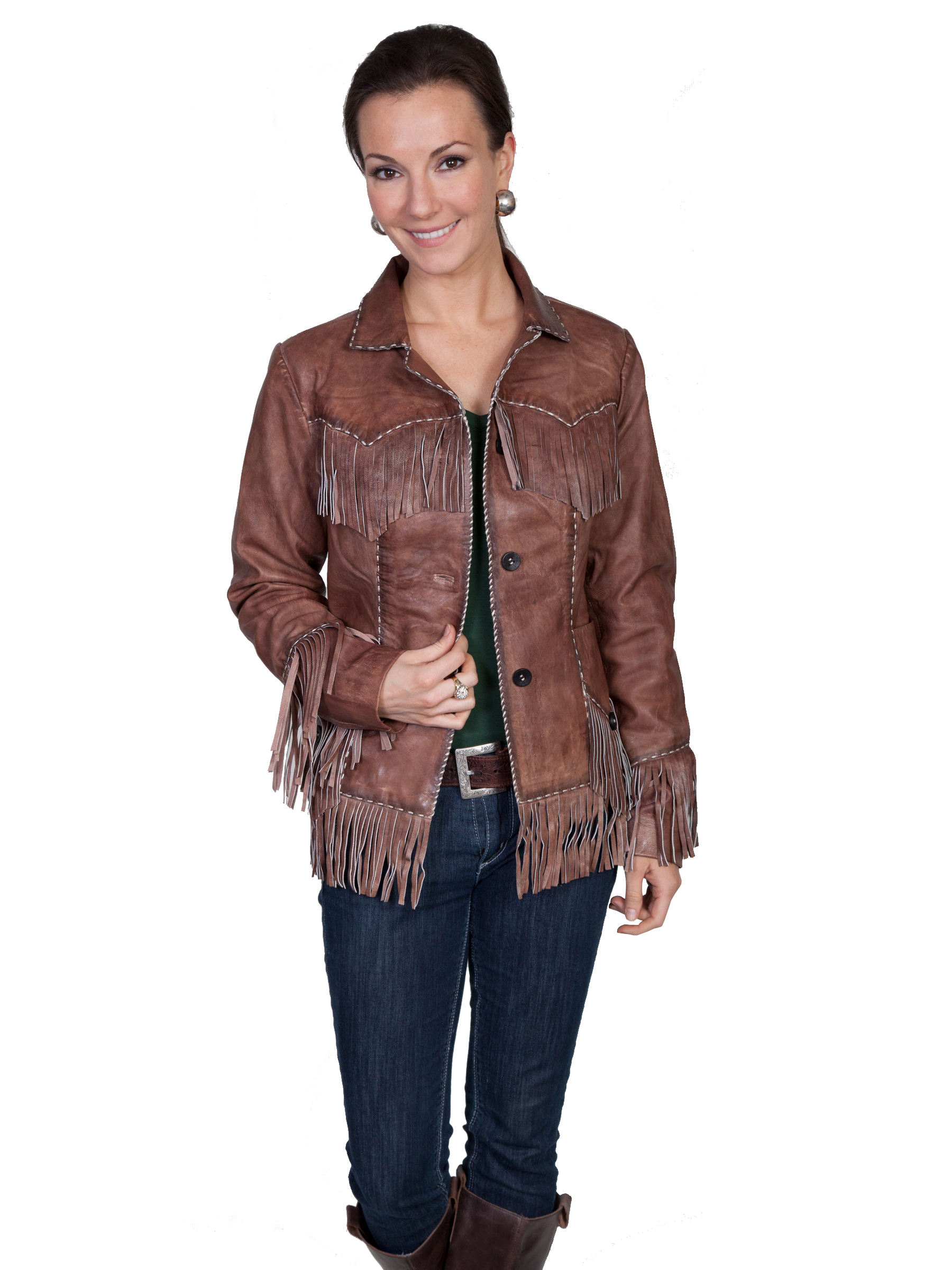 Pungo Ridge Scully Ladies Lamb Fringe Jacket Brown