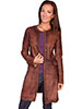 Scully Ladies Laser Cut Leather Coat - Brown
